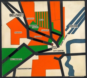 Map of Belfast, Northern Ireland 1973.