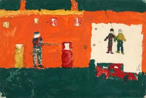 "Paintings by children of Ardoyne, which were displayed in an exhibition at The Tate Gallery In London - from ""A Place Called Ardoyne."""